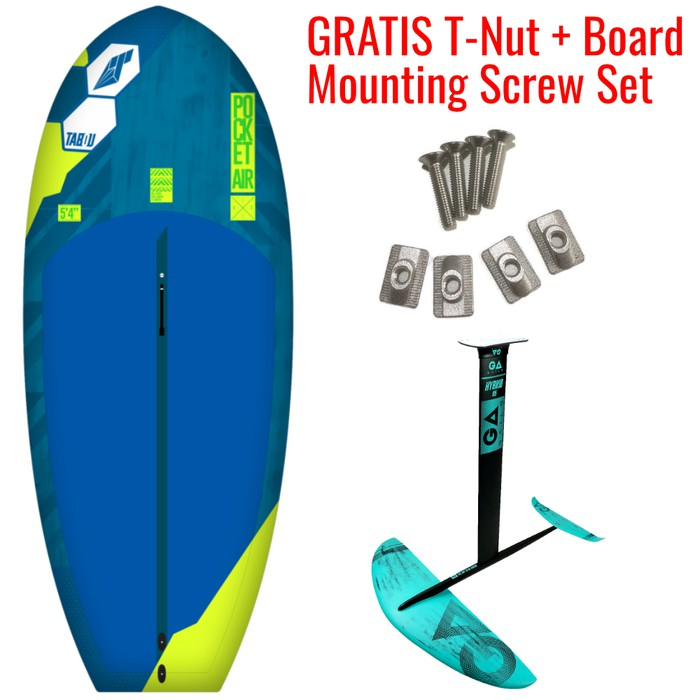 Tabou 2021 Pocket Air + GA-Foil 2021 Hybrid 2000 Alu Wing Foil Set + GRATIS T-Nut & Board Mounting Screw Set