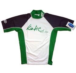 Katie Lycra Rashguard Kurzarm Männer UV-Resistant - white/grey/green