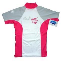 Katie Lycra Rashguard Kurzarm Frauen UV-Resistant - white/grey/pink