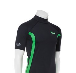 Ascan Shirt Black/Green 1/2 kurzarm UV-Schutz Rash Vest
