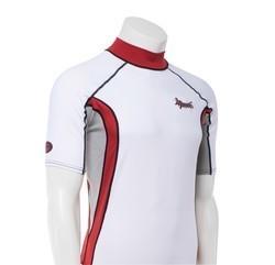 Ascan Shirt White/Red 1/2 kurzarm UV-Schutz Rash Vest 2.Wahl