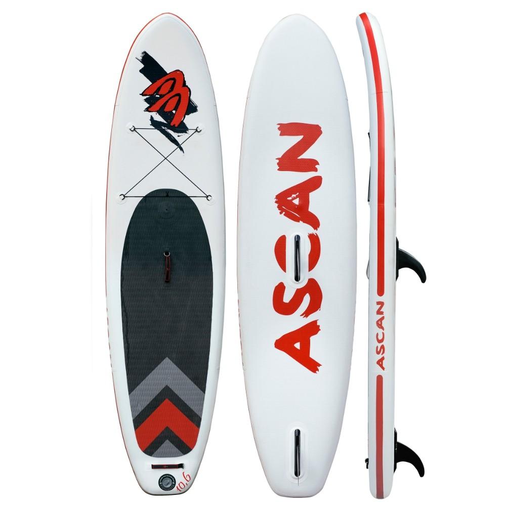 "Ascan iSUP Inflatable Windsurf Board 10,6"" mit Finne + Reparatur Set"