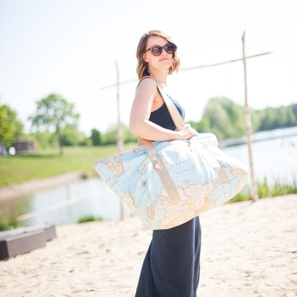 """Juvelbag Strandtasche """"World Map"""" Beach Bag Tasche L"""
